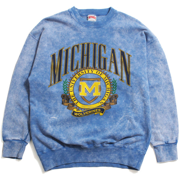University of Michigan Arch & M Seal Stone Washed Nutmeg Crewneck Sweatshirt Blue (Large)