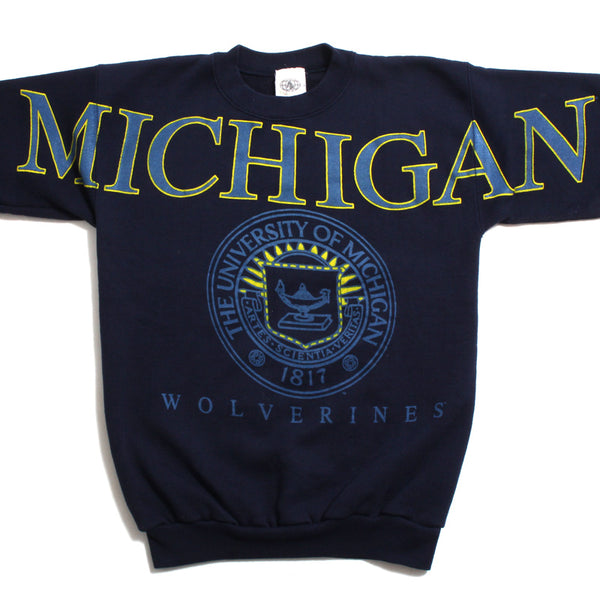 University of Michigan Oversized Sleeve Wordmark & Seal Boss Int. Crewneck Sweatshirt Navy (Women's L/XL)