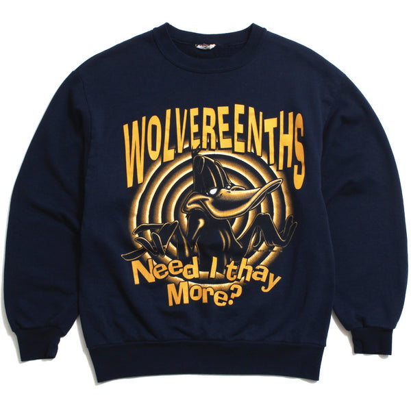 University of Michigan Looney Tunes Daffy Duck Wolvereenths Crewneck Sweatshirt Navy (Medium)
