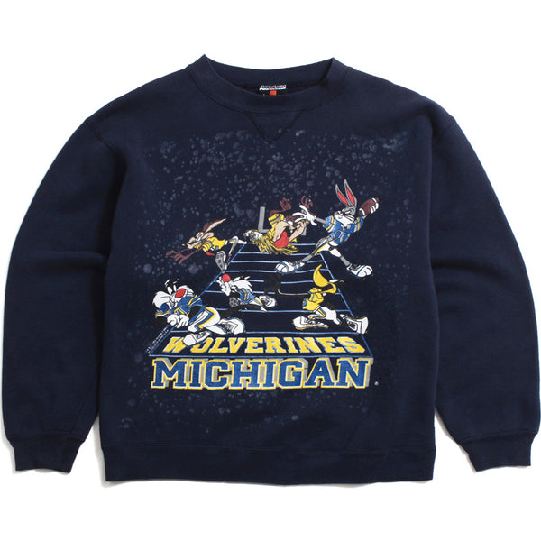 University of Michigan Looney Tunes Football Field Signal Sports Crewneck Sweatshirt Navy (Large)