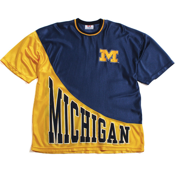University of Michigan Split Dodger Jersey T-Shirt Navy / Yellow (Large)