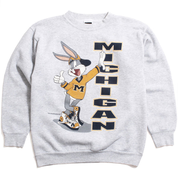University of Michigan Bugs Bunny Leaning Tultex Crewneck Sweatshirt Ash Grey (XL)