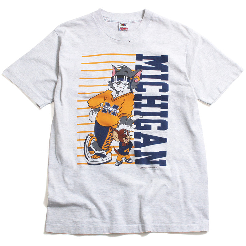 University of Michigan Tom & Jerry Leaning T-Shirt Ash Grey (Medium)