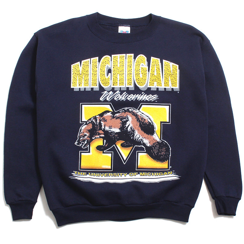 University of Michigan Huge Airbrush Wolverine M TNT Deadstock Crewneck Sweatshirt Navy (Large)
