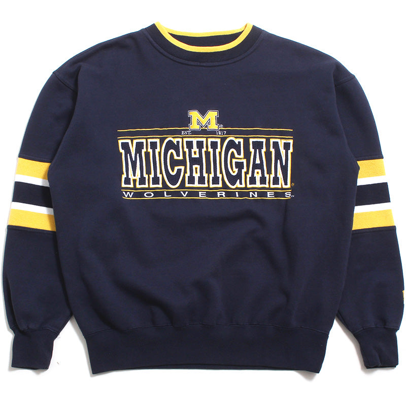 University of Michigan Embroidered Outline Bar Logo with Sleeve Ribbing Lee Sport Crewneck Sweatshirt Navy (Medium)