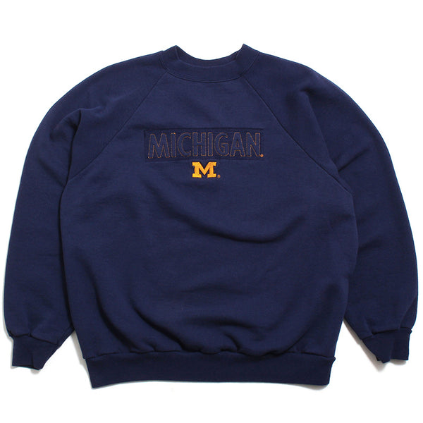 University of Michigan Embroidered Box Logo & Block M Crewneck Sweatshirt Navy (Large)