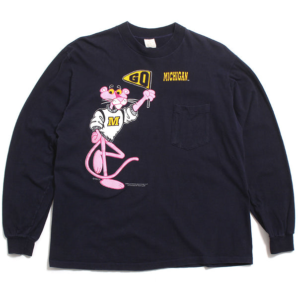 University of Michigan Pink Panther Go Michigan Longsleeve Pocket T-Shirt Navy (Large)