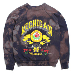 University of Michigan 1992 Rose Bowl 3D Arch Saturday's Hero Crewneck Sweatshirt Navy Bleach Wash (Youth Large)