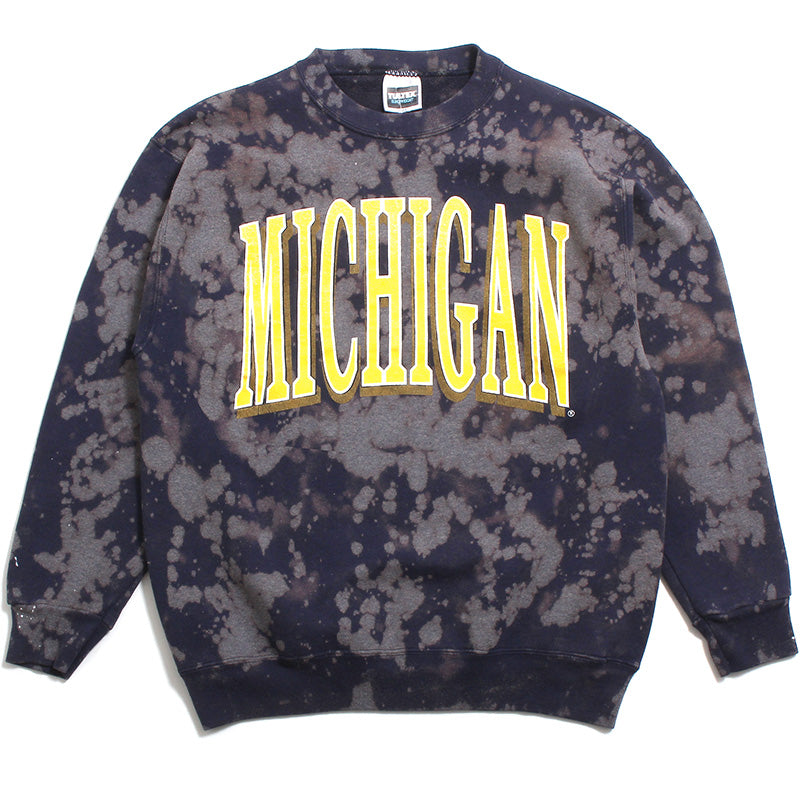 University of Michigan Stretched Arch Tultex Crewneck Sweatshirt Navy Bleach Wash (Large)
