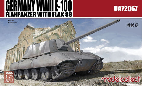 Germany WWII E-100 Flakpanzer with flak 88 (1/72) - Pegasus Hobby Supplies