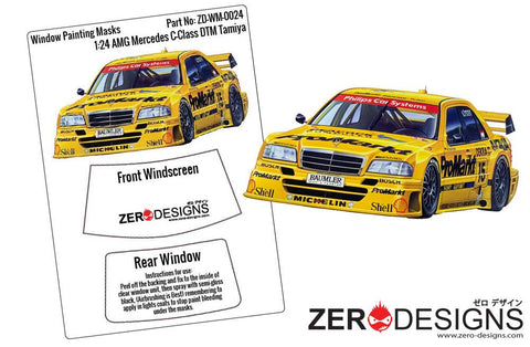 Zero Designs : 1/24 AMG Mercedes C-Class DTM Window Painting Masks (Tamiya) - Pegasus Hobby Supplies