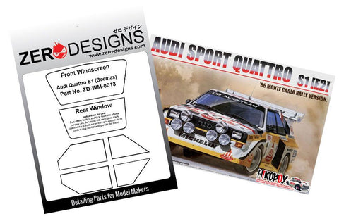 Zero Designs : 1/24 Audi Quattro S1 1985 Monte Carlo Rally Window Painting Masks (Beemax) - Pegasus Hobby Supplies