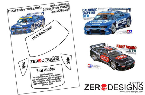 Zero Designs : 1/24 Calsonic/Kure Skyline R33 GT-R Pre Cut Window Painting Masks (Tamiya) - Pegasus Hobby Supplies