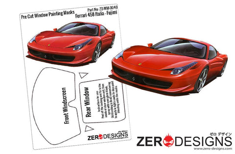 Zero Designs : 1/24 Ferrari 458 Italia Pre Cut Window Painting Masks (Fujimi) - Pegasus Hobby Supplies