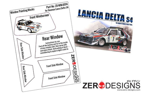 Zero Designs : 1/24 Lancia Delta S4 Rally Window Painting Masks (Beemax) - Pegasus Hobby Supplies