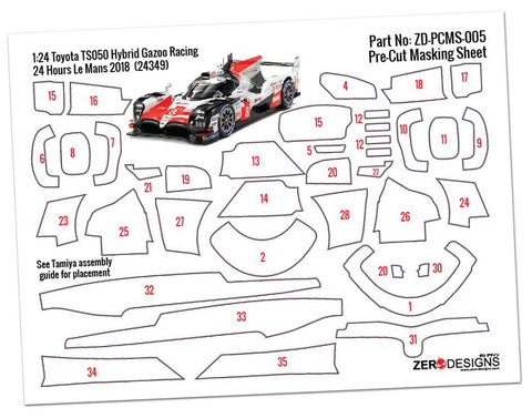 Zero Designs : Pre­Cut Masking Sheet Toyota TS050 Hybrid Gazoo Racing ­ (For Tamiya 24349)