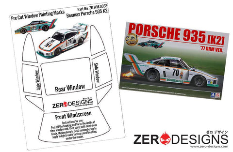 Zero Designs : 1/24 Porsche Kremer 935 K2 Pre Cut Window Painting Masks (Beemax)