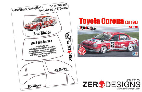 Zero Designs : 1/24 Toyota Corona ST191 Pre Cut Window Painting Masks (Beemax) - Pegasus Hobby Supplies