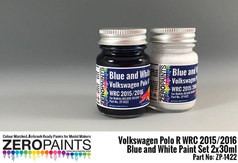 Zero Paints : Volkswagen Polo R WRC 2015 ­ Blue and White Paint Set 2x30ml (60ml) - Pegasus Hobby Supplies
