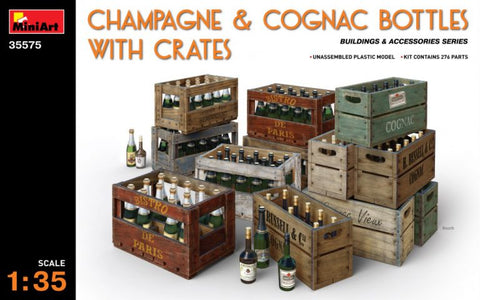 Champagne and Cognac Bottles with Crates (1/35)