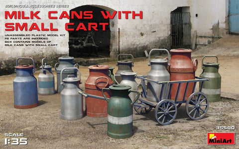 Milk Cans with Small Cart  (1/35)