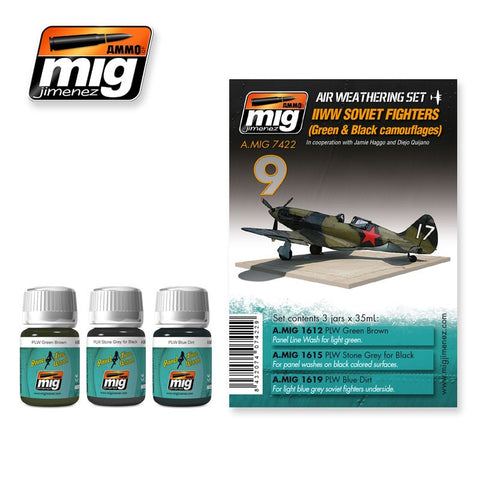 Aircraft Weathering Set 9 - WWII Soviet Fighters (Green & Black Camouflage) - Pegasus Hobby Supplies