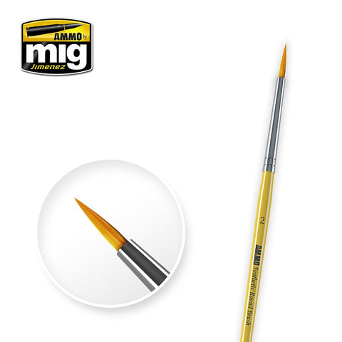 Synthetic Paint Brush - Round (2) - Pegasus Hobby Supplies