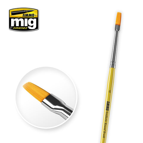 Synthetic Paint Brush - Flat (6) - Pegasus Hobby Supplies