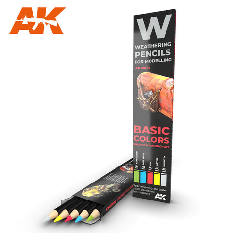 Weathering Pencil Set - Basic Colours : Shading & Demotion - Pegasus Hobby Supplies