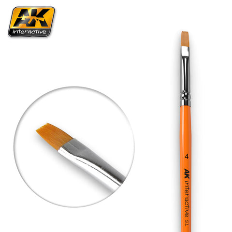 Synthetic Paint Brush - Flat (4) - Pegasus Hobby Supplies