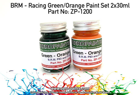 Zero Paints : BRM ­ Racing Green/Orange Paint Set 2x30ml (60ml) - Pegasus Hobby Supplies