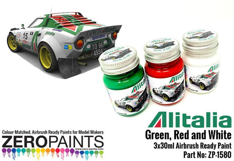 Zero Paints : Alitalia (Lancia) Green, Red and White Paint Set 3x30ml