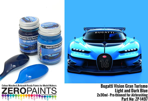 Zero Paints : Bugatti Vision Gran Turismo ­ Light and Dark Blue Paint Set 2x30ml (60ml)