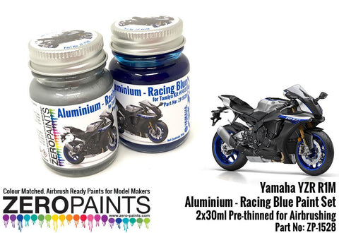 Zero Paints : Yamaha YZR R1M ­ Aluminium and Racing Blue Paint Set 2x30ml (60ml)