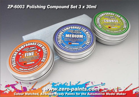 Zero Paints : Polishing Compound Set [3 Grades & Cloth] (3 x 30ml)