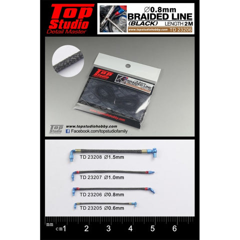 Top Studio : Braided Line (Black) 0.8mm - Pegasus Hobby Supplies