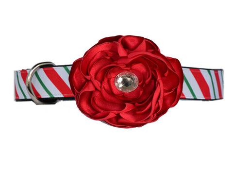 Candy Cane Red Satin Flower Set