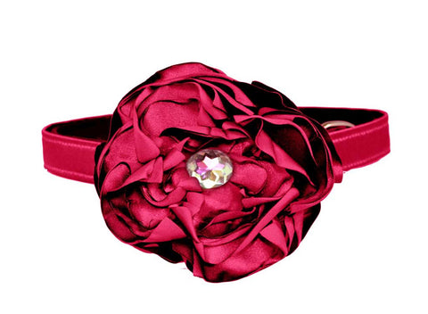 satin cherry red flower set for dog in wedding