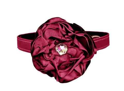 satin cranberry flower set for dog in wedding