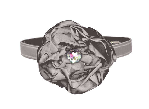 satin dark grey flower set for dog in wedding
