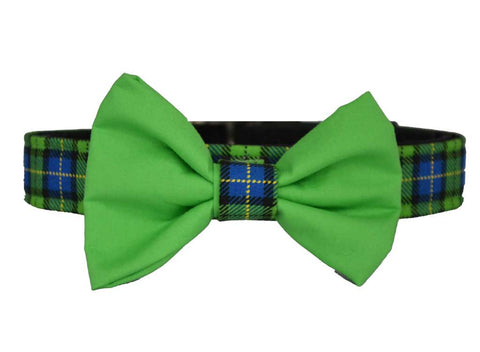 Green Plaid Green Bow Tie Set