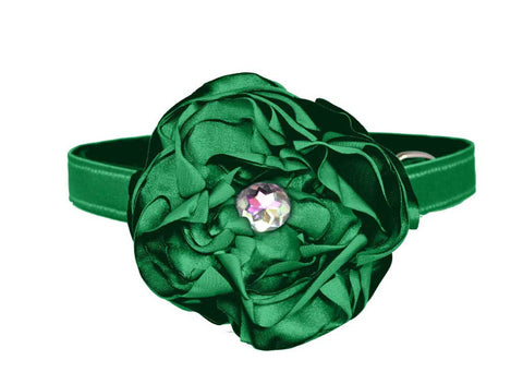 satin green flower set for dog in wedding