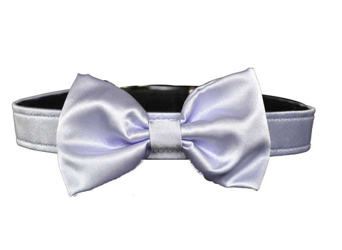 Satin Lavender Bow Tie Set for dog in wedding