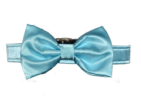 Satin Light Blue Bow Tie Set for dog in wedding