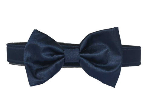 Satin Navy Bow Tie Set for dog in wedding