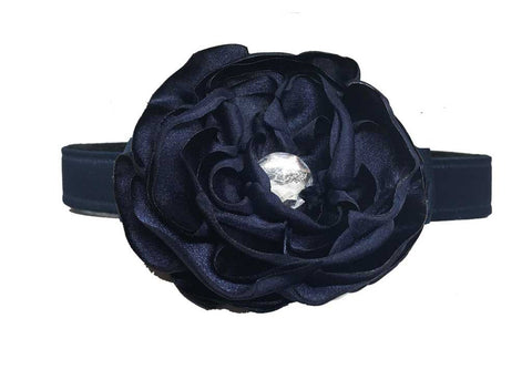 satin navy flower for dog in wedding
