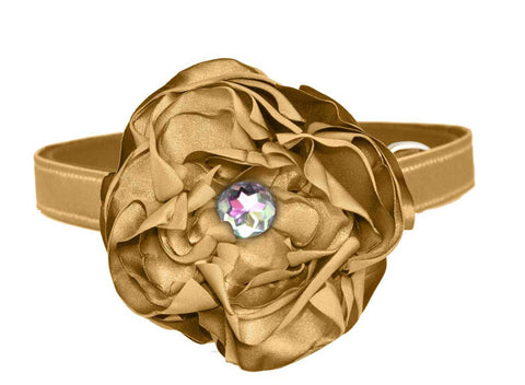 satin gold flower set for dog in wedding