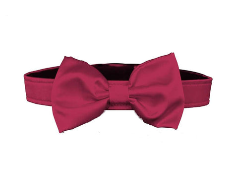 satin cranbery bow tie for dog in wedding