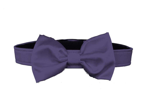 satin eggplant purpole bow tie for dog in wedding