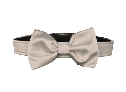 satin flax beige bow tie for dog in wedding